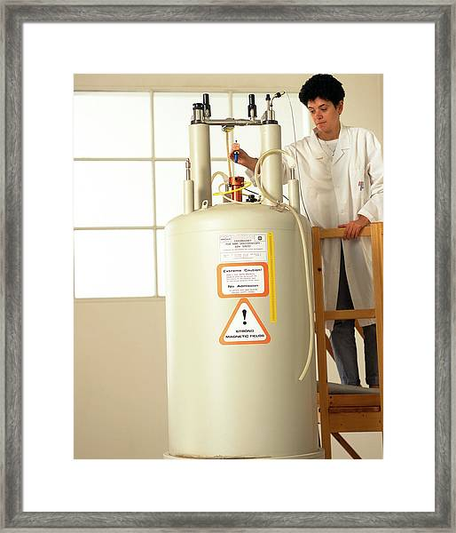 Nuclear Magnetic Resonance Spectrometer Framed Print by Mauro Fermariello/science Photo Library