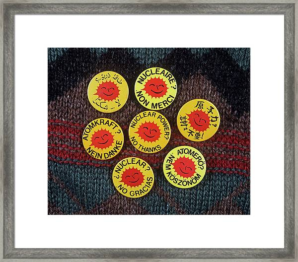 \nuclear Power? No Thanks\ Badges Framed Print
