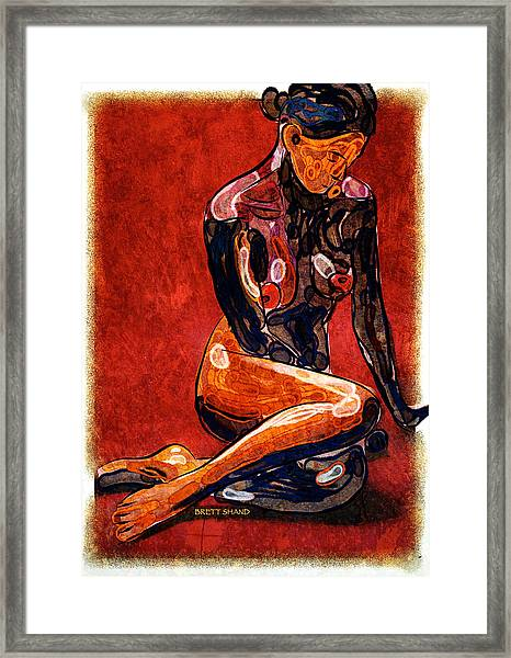 Nude - Woman Sitting Framed Print