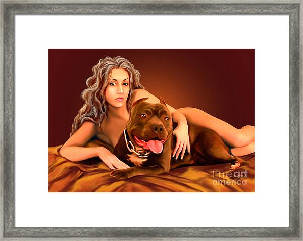 Nude Girl With Dog By Spano Framed Print