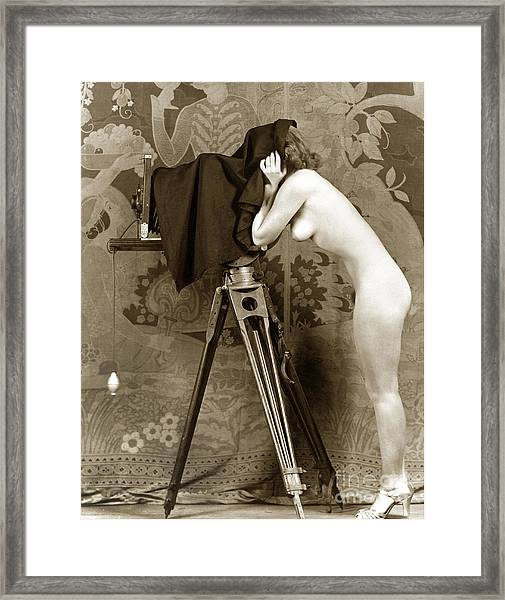 Nude In High Heel Shoes With Studio Camera Circa 1920 Framed Print
