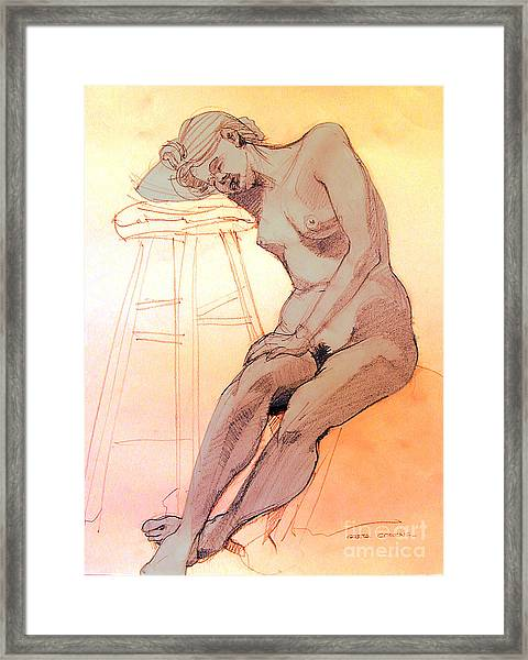 Nude Woman Leaning On A Barstool Framed Print