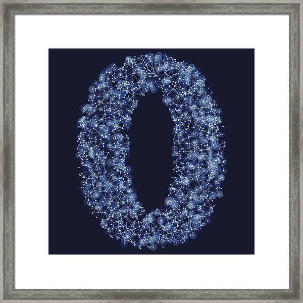 Number 0 Network Mesh Blue Framed Print by FrankRamspott