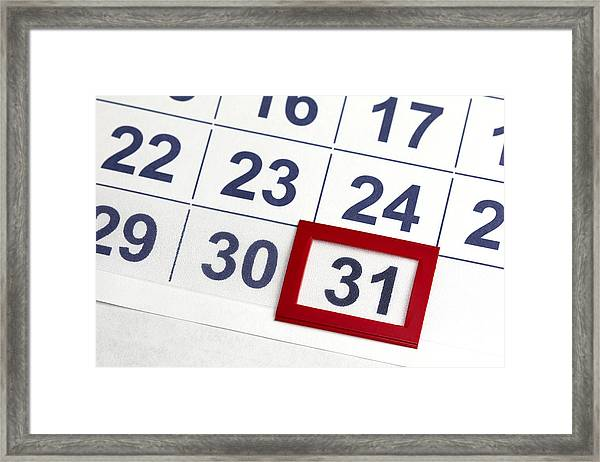 Number 31 Bordered By Red In Calendar Framed Print by Antoniooo