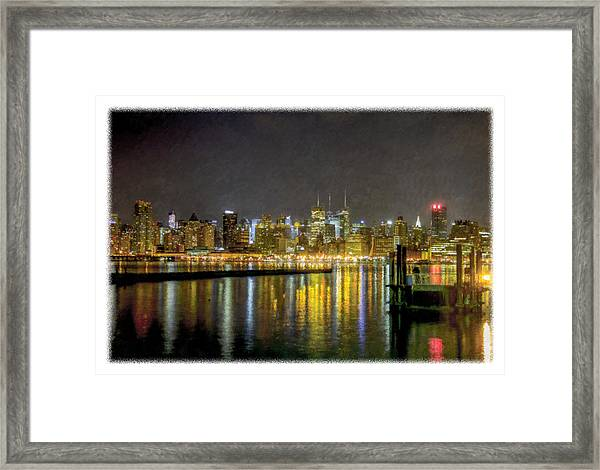 Nyc At Night Faux Oil Framed Print