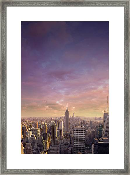 Nyc At Sunset Framed Print