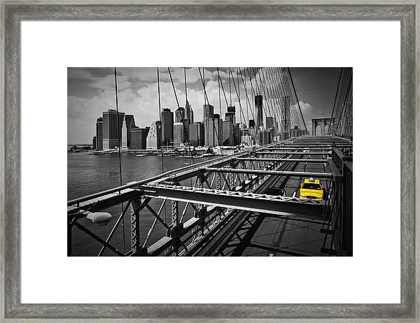 Nyc Brooklyn Bridge View Framed Print by Melanie Viola