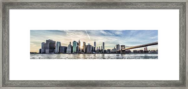 Nyc Skyline At Sunset Framed Print by Zev Steinhardt