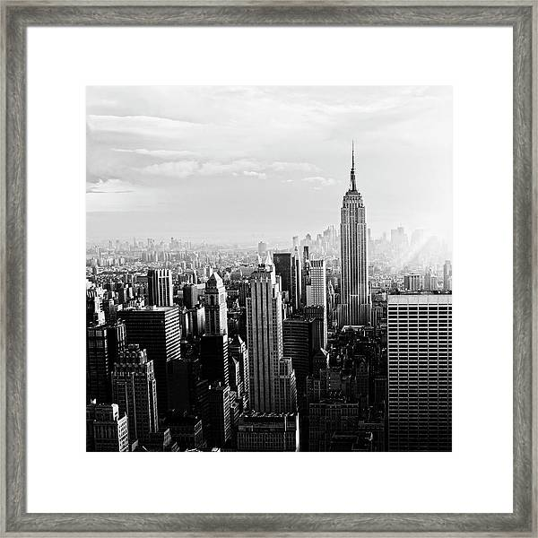 Nyc Skyline.black And White Framed Print by Lisa-blue