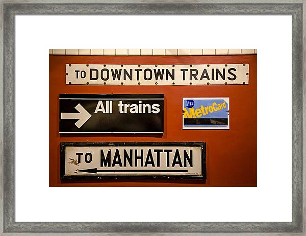 Framed Print featuring the photograph Nyc Subway Signs by Susan Candelario