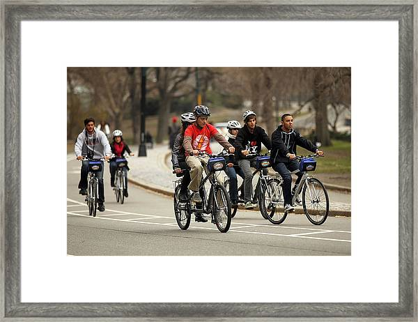 Nypd Steps Up Ticketing Of City Bicyclists Framed Print by Spencer Platt
