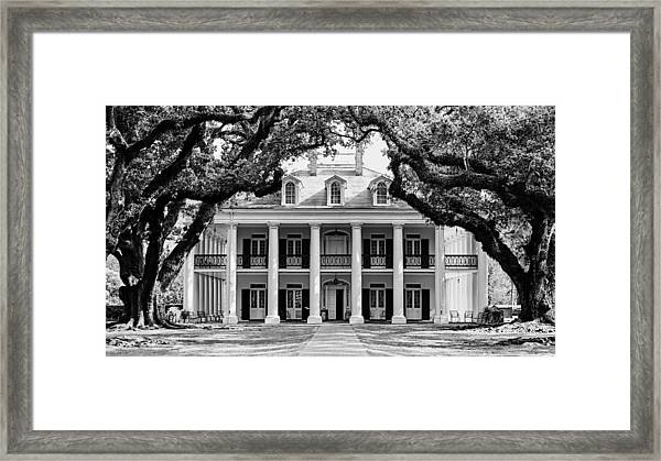 Oak Alley Mansion Black And White Framed Print