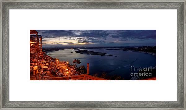 Oasis On Lake Travis Panorama Austin Texas Framed Print