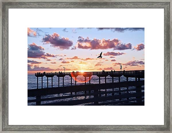 Framed Print featuring the photograph Ob Pier  by Gigi Ebert