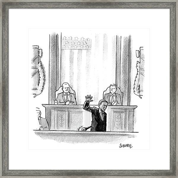 Obama Dropping A Mic Framed Print