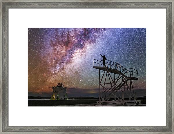 Observer Pointing At The Milky Way Framed Print