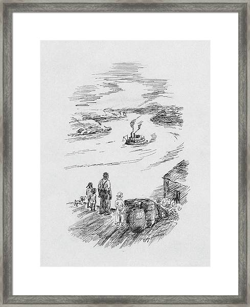 Observing A Steam Boat Framed Print by Peggy Bacon