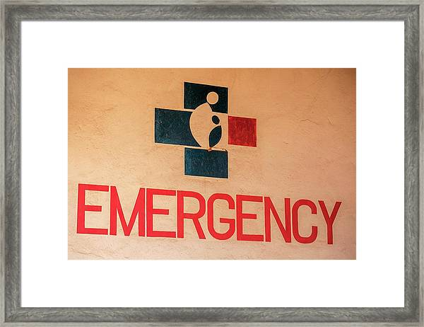 Obstetrics Emergency Sign Framed Print by Mauro Fermariello/science Photo Library