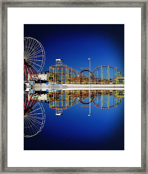 Ocean City Amusement Pier Reflections Framed Print
