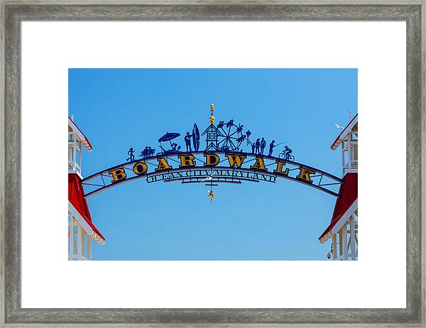 Ocean City Boardwalk Arch Framed Print