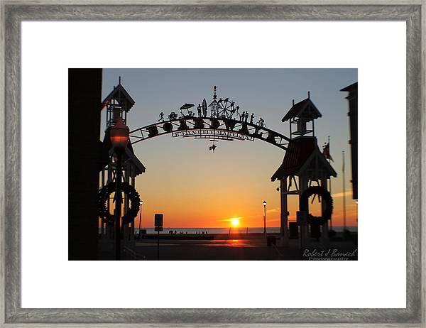 Ocean City Boardwalk Arch New Year Sunrise Framed Print