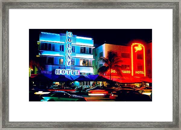 Ocean Drive Polaroid  Framed Print