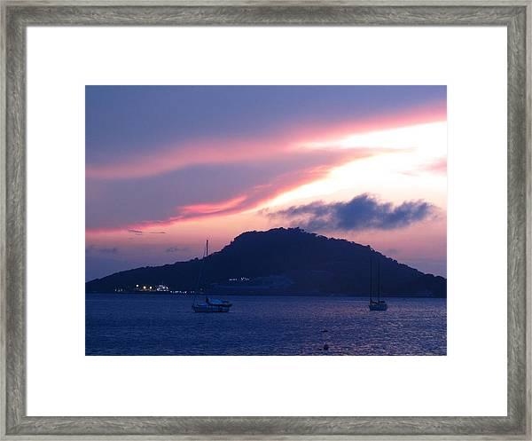 Ocean Island Sunrise Framed Print