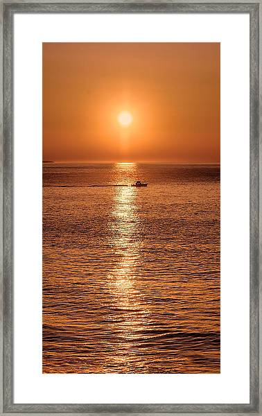 Framed Print featuring the photograph Ocean Sunrise At Montauk Point by William Jobes