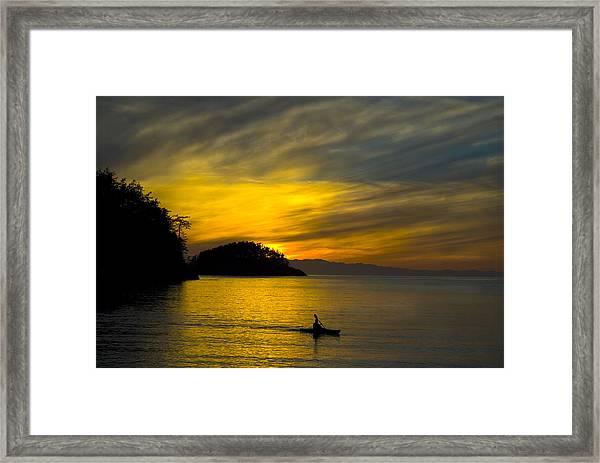 Ocean Sunset At Rosario Strait Framed Print