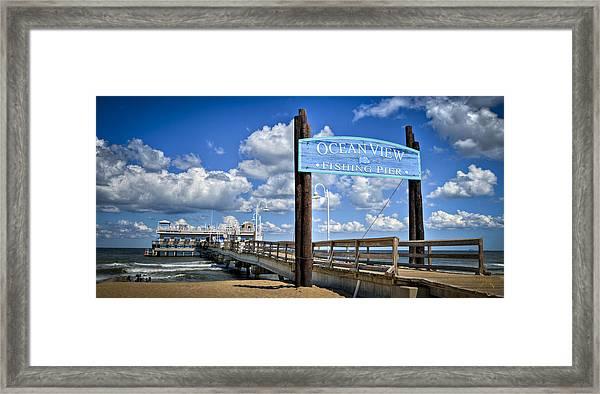 Ocean View Fishing Pier Color Framed Print by Williams-Cairns Photography LLC