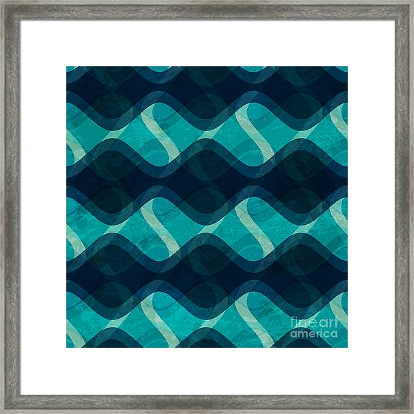 Ocean Wave Seamless Texture With Grunge Framed Print