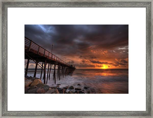 Oceanside Pier Perfect Sunset Framed Print