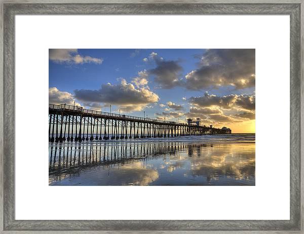 Oceanside Pier Sunset Reflection Framed Print