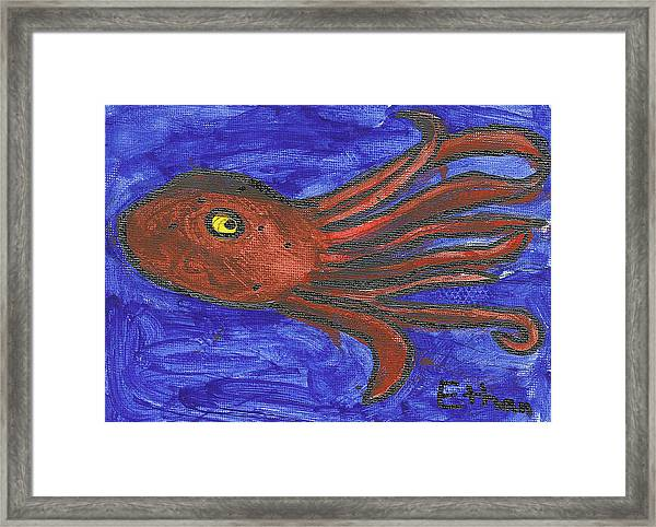 Octopus In The Deep Blue Framed Print by Fred Hanna