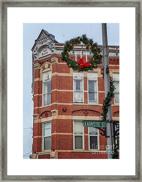 Framed Print featuring the photograph Oddfellow Block Winona Mn by Kari Yearous