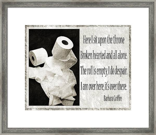 Ode To The Spare Roll Bw 2 Framed Print