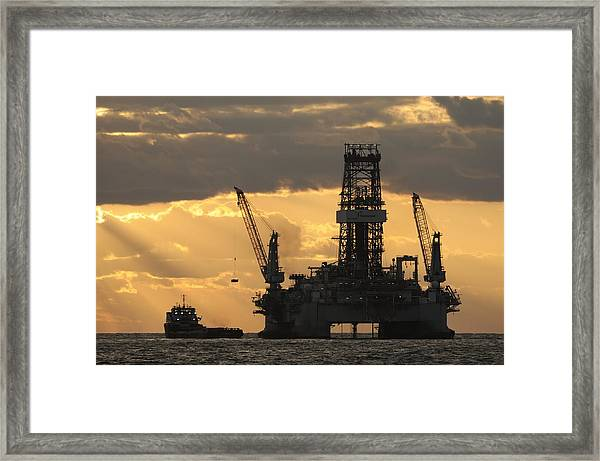 Offshore Rig At Dawn Framed Print