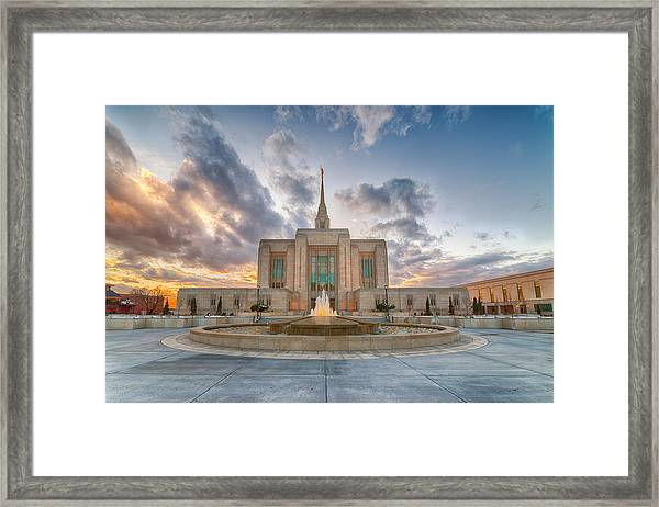 Ogden Temple Fountain Framed Print