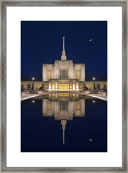 Framed Print featuring the photograph Ogden Temple Reflection by Dustin  LeFevre