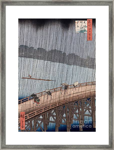 Ohashi Sudden Shower At Atake Framed Print