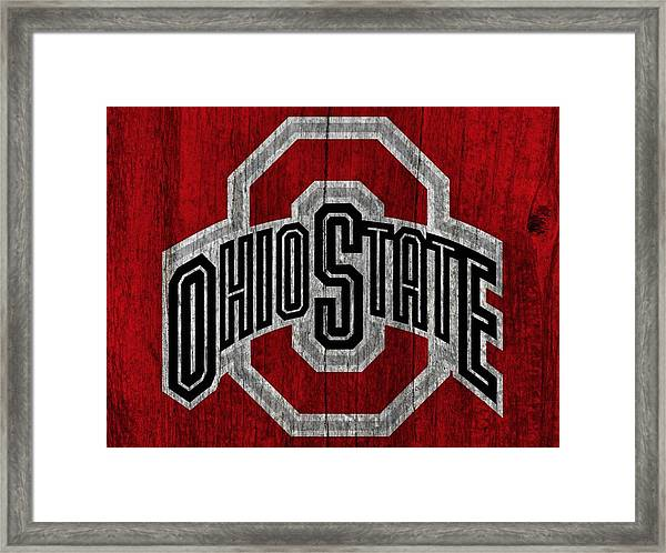 Ohio State University On Worn Wood Framed Print