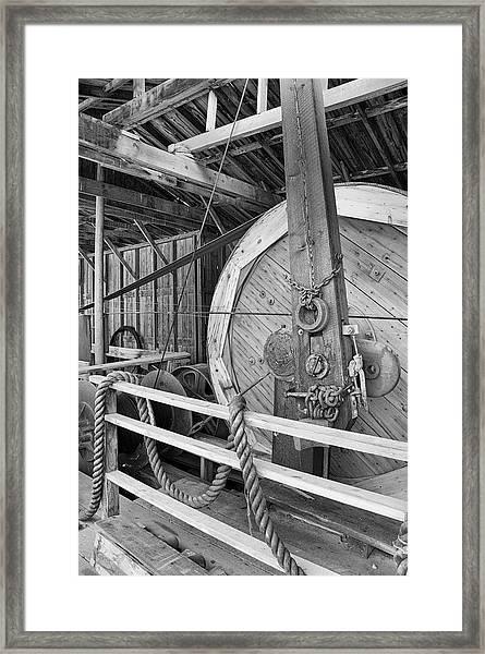 Oil Drill Flywheel Framed Print