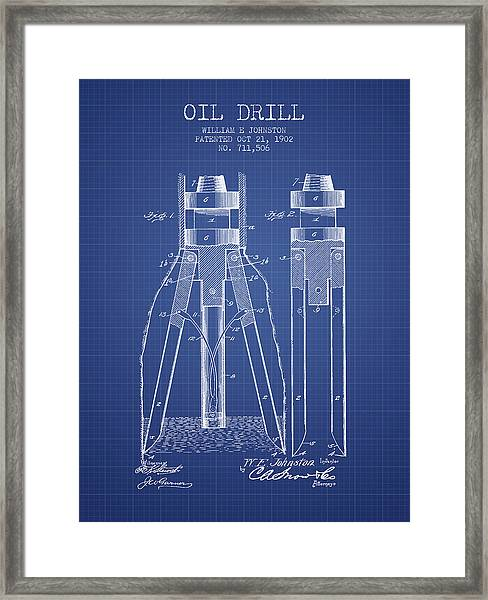 Oil Drill Patent From 1902 - Blueprint Framed Print