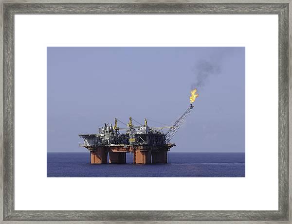 Oil Production Platform With Flare Framed Print