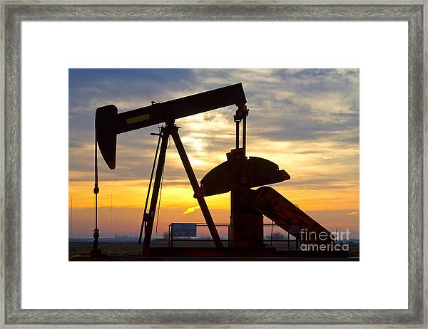 Oil Pump Sunrise Framed Print