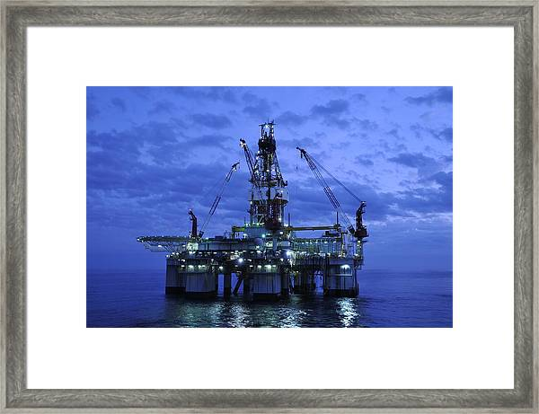 Oil Rig At Twilight Framed Print