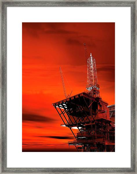 Oil Rig Framed Print by Victor Habbick Visions