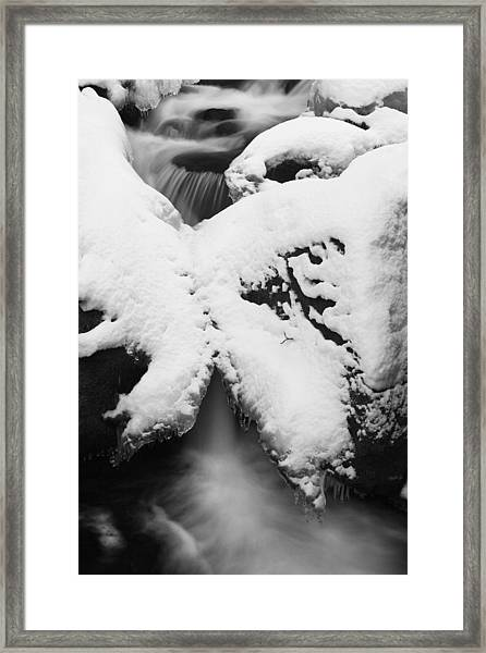 Oirase Gorge Stream In Winter Framed Print