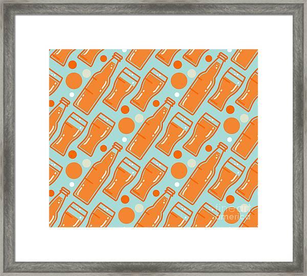 Oktoberfest Seamless Pattern. Beer Framed Print