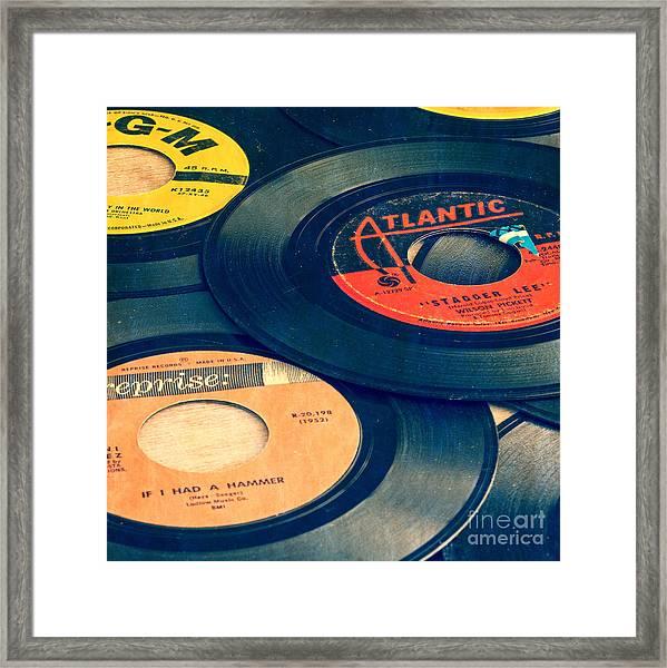Old 45 Records Square Format Framed Print